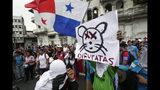 Estudiantes universitarios se reúnen afuera de la Asamblea Nacional para protestar por las reformas constitucionales en la ciudad de Panamá, el miércoles 30 de octubre de 2019. (AP Foto / Arnulfo Franco)