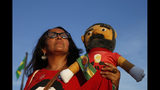 A supporter holds a doll depicting jailed former President Luiz Inacio Lula da Silva, outside Brazil'sSupreme Court in Brasilia, Brazil, Thursday, Nov. 7, 2019. The Supreme Court will resume debate over if it's legal (as is done currently) to jail a person who fails to overturn their conviction in a higher court. The decision could affect cases like that of Da Silva. (AP Photo/Eraldo Peres)
