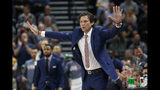 Utah Jazz coach Quin Snyder directs his team during the first half of the team's NBA basketball game agains the Milwaukee Bucks on Friday, Nov. 8, 2019, in Salt Lake City. (AP Photo/Rick Bowmer)