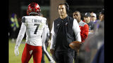 Cincinnati head coach Luke Fickell, center, reacts to a pass interference call against his team during the first half of an NCAA college football game against East Carolina in Greenville, N.C., Saturday, Nov. 2, 2019. (AP Photo/Karl B DeBlaker)