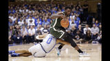 Colorado State guard Kris Martin (1) handles the ball while Duke forward Wendell Moore Jr. (0) attempts to steal during the first half of an NCAA college basketball game in Durham, N.C., Friday, Nov. 8, 2019. (AP Photo/Gerry Broome)