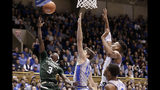 Colorado State guard Kendle Moore (3) drives to the basket while Duke forward Joey Baker (13) and forward Javin DeLaurier, right, defend during the first half of an NCAA college basketball game in Durham, N.C., Friday, Nov. 8, 2019. (AP Photo/Gerry Broome)