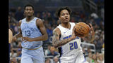 Orlando Magic's Markelle Fultz (20) passes the ball in front of Memphis Grizzlies' Jaren Jackson Jr. (13) during the first half of an NBA basketball game, Friday, Nov. 8, 2019, in Orlando, Fla. (AP Photo/John Raoux)