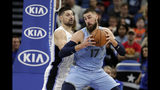 Memphis Grizzlies' Jonas Valanciunas (17) makes a move to the basket against Orlando Magic's Nikola Vucevic, left, during the first half of an NBA basketball game, Friday, Nov. 8, 2019, in Orlando, Fla. (AP Photo/John Raoux)