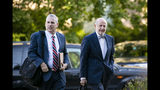 Bruce Rogow, attorney for Roger Stone, right, arrives at Federal Court for his federal trial in Washington, Friday, Nov. 8, 2019. (AP Photo/Al Drago)