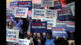 "In this Thursday, Nov. 7, 2019, supporters of Dan Barna, the presidential candidate of the USR-Plus Alliance, hold banners before his speech at a rally in Bucharest, Romania. Romania will hold presidential elections on Nov. 10, 2019. Banners read ""Happy in Romania"". (AP Photo/Vadim Ghirda)"