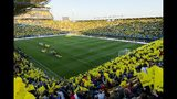 "In this handout photo released by Villarreal F.C on Sunday, March 17, 2019, La Ceramica Stadium, home to Villarreal soccer club is seen in Villareal, Spain. Spain's ""Yellow Submarine,"" as the team is known for its yellow uniform and low profile, is the pride of this industrial town of 50,000. And it's that small family-run team, which often challenges powerhouses Real Madrid and Barcelona despite having a considerably smaller budget, that is getting a chance to showcase Spanish soccer in the United States.(Alfredo Lucas Lleonart/Villareal F.C via AP)"