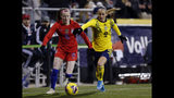 United States midfielder Rose Lavelle, left, chases the ball in front of Sweden midfielder Kosovare Asllani during the first half of a women's international friendly soccer match in Columbus, Ohio, Thursday, Nov. 7, 2019. (AP Photo/Paul Vernon)