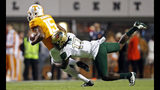 Tennessee wide receiver Jauan Jennings (15) tries to escape from UAB safety Will Boler (17) in the first half of an NCAA college football game, Saturday, Nov. 2, 2019, in Knoxville, Tenn. (AP Photo/Wade Payne)