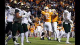 Tennessee's Brent Cimaglia (42) is congratulated by Joe Doyle (47) after kicking a field goal in the first half of an NCAA college football game against UAB, Saturday, Nov. 2, 2019, in Knoxville, Tenn. (AP Photo/Wade Payne)