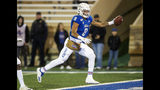 Tulsa wide receiver Keenen Johnson runs the ball into the end zone for a touchdown during the first half of an NCAA college football game against Central Florida, Friday, Nov. 8, 2019 in Tulsa, Okla. (Brett Rojo/Tulsa World via AP)