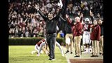 South Carolina head coach Will Muschamp, center, calls for a touchdown against Vanderbilt during the first half of an NCAA college football game Saturday, Nov. 2, 2019, in Columbia, S.C. (AP Photo/Sean Rayford)