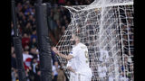 Real Madrid's Karim Benzema celebrates after scoring his side's fifth goal during a Champions League group A soccer match between Real Madrid and Galatasaray at the Santiago Bernabeu stadium in Madrid, Spain, Wednesday, Nov. 6, 2019. (AP Photo/Manu Fernandez)