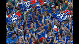 French fans cheer for compatriot Kristina Mladenovic during her match against Australia's Ajla Tomljanovic during their Fed Cup tennis final in Perth, Australia, Saturday, Nov. 9, 2019. (AP Photo/Trevor Collens)