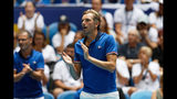 French captain Julien Benneteu cheers on his player Caroline Garcia in her match against Australia's Ash Barty during their Fed Cup tennis final in Perth, Australia, Saturday, Nov. 9, 2019. (AP Photo/Trevor Collens)