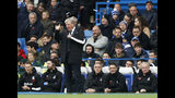 Crystal Palace's manager Roy Hodgson gestures during the English Premier League soccer match between Chelsea and Crystal Palace at Stamford Bridge stadium in London, Saturday, Nov. 9, 2019. (AP Photo/Alastair Grant)