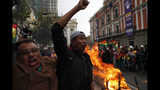 Opponents of Bolivia's President Evo Morales celebrate after he announced his resignation in La Paz, Bolivia, Sunday, Nov. 10, 2019. Morales resigned under mounting pressure from the military and the public after his re-election victory triggered weeks of fraud allegations and deadly protests.(AP Photo/Juan Karita)