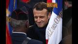 French President Emmanuel Macron meets veterans under the Arc de Triomphe during commemorations marking the 101st anniversary of the 1918 armistice, ending World War I, Monday Nov. 11, 2019 in Paris (AP Photo/Francois Mori, Pool)