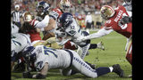 Seattle Seahawks running back Chris Carson (32) runs for a touchdown against the San Francisco 49ers during the second half of an NFL football game in Santa Clara, Calif., Monday, Nov. 11, 2019. (AP Photo/Ben Margot)