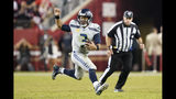 Seattle Seahawks quarterback Russell Wilson (3) runs the ball against the San Francisco 49ers during the second half of an NFL football game in Santa Clara, Calif., Monday, Nov. 11, 2019. (AP Photo/Tony Avelar)