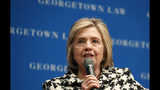 """FILE - In this file photo dated Wednesday, Oct. 30, 2019, former U.S. Secretary of State Hillary Clinton speaks at Georgetown Law's second annual Ruth Bader Ginsburg Lecture, in Washington. Clinton told the BBC on Tuesday Nov. 12, 2019, that she's """"dumbfounded"""" the U.K. government has failed to release a report on Russian influence in British politics as the country prepares for national elections on Dec 12. (AP Photo/Jacquelyn Martin, FILE)"""