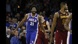 Philadelphia 76ers' Joel Embiid reacts after making a go-ahead dunk during the final minute of an NBA basketball game against the Cleveland Cavaliers, Tuesday, Nov. 12, 2019, in Philadelphia. Philadelphia won 98-97. (AP Photo/Matt Slocum)