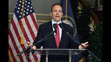 FILE - In this Nov. 6, 2019, file photo, Kentucky Gov. Matt Bevin announces his intent to call for a recanvass of the voting results from the gubernatorial election during a news conference at the governor's mansion in Frankfort, Ky. As election results came in last week from Kentucky and Virginia, social media posts offered an unsubstantiated explanation for Republican losses: voter fraud. The responses offer a glimpse into the type of misinformation that could cloud next year's presidential race. (AP Photo/Timothy D. Easley, File)