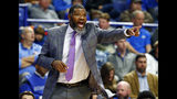 Evansville coach Walter McCarty directs his team during the first half of an NCAA college basketball game against Kentucky in Lexington, Ky., Tuesday, Nov. 12, 2019. (AP Photo/James Crisp)