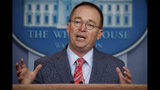 FILE - In this Oct. 17, 2019 file photo, acting White House chief of staff Mick Mulvaney speaks in the White House briefing room in Washington. (AP Photo/Evan Vucci, File)
