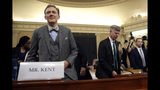 Top U.S. diplomat in Ukraine William Taylor, right, and career Foreign Service officer George Kent, arrive to testify before the House Intelligence Committee on Capitol Hill in Washington, Wednesday, Nov. 13, 2019, during the first public impeachment hearing of President Donald Trump's efforts to tie U.S. aid for Ukraine to investigations of his political opponents. (AP Photo/Andrew Harnik)