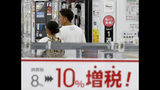 "FILE - In this Sept. 30, 2019, file photo, a signboard says ""Consumption tax hike, 8 percent to 10 percent"", at a mass home electronics retailer in Tokyo. Japan reports on Thursday, Nov. 14, 2019 its economy grew at an annual pace of 0.2% in July-September, supported by consumer purchases ahead of a tax hike. (Shinji Kita/Kyodo News via AP, File)"