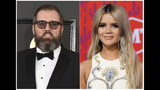 """This combination photo shows songwriter and producer busbee, whose real name was Michael James Ryan, at the 59th annual Grammy Awards in Los Angeles. on Feb. 12, 2017, left, and singer Maren Morris at the CMT Music Awards in Nashville, Tenn. on June 5, 2019. As the most-nominated act at an event for a music genre dominated by its male performers, Morris has become one of the key female faces of country music. She will pay tribute to her producer busbee, who died in September at age 43 and shares two nominations with Morris for his work on her acclaimed project, """"GIRL."""" (AP Photo)"""