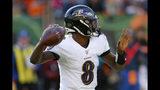 Baltimore Ravens quarterback Lamar Jackson passes during the second half of NFL football game against the Cincinnati Bengals, Sunday, Nov. 10, 2019, in Cincinnati. (AP Photo/Gary Landers)
