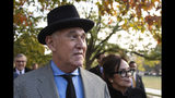 """Roger Stone with his wife Nydia Stone, right, leave federal court Washington, Tuesday, Nov. 12, 2019. Stone, a longtime Republican provocateur and former confidant of President Donald Trump, wanted to contact Jared Kushner in order to """"debrief"""" the president's son-in-law about hacked emails that were damaging to Hillary Clinton during the 2016 presidential campaign, a former Trump campaign aide said Tuesday. (AP Photo/Manuel Balce Ceneta)"""