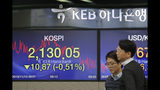 Currency traders talk near the screens showing the Korea Composite Stock Price Index (KOSPI) at the foreign exchange dealing room in Seoul, South Korea, Wednesday, Nov. 13, 2019. Asian stocks sank Wednesday after U.S. President Donald Trump threatened more tariff hikes on Chinese imports if talks aimed at ending a trade war fail to produce an interim agreement. (AP Photo/Lee Jin-man)