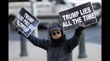 Un manifestante sostiene carteles de protesta contra el presidente Donald Trump afuera de la sede del Congreso, en Washington el 13 de noviembre de 2019, al iniciar las audiencias públicas sobre la investigación de juicio político al mandatario. (AP Foto/Julio Cortez)