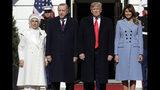President Donald Trump and first lady Melania Trump welcome Turkish President Recep Tayyip Erdogan and his wife Emine Erdogan to the White House, Wednesday, Nov. 13, 2019, in Washington. (AP Photo/ Evan Vucci)
