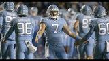 North Carolina quarterback Sam Howell (7) congratulates teammates after the Tar Heels scored against Virginia in the second quarter of an NCAA college football game Saturday, Nov. 2, 2019, in Chapel Hill, N.C. (Robert Willett/The News & Observer via AP)