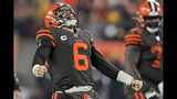 Cleveland Browns quarterback Baker Mayfield celebrates after throwing an 8-yard touchdown pass to tight end Stephen Carlson during the second half of the team's NFL football game against the Pittsburgh Steelers, Thursday, Nov. 14, 2019, in Cleveland. (AP Photo/David Richard)