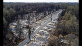 FILE - In this Dec. 3, 2018, file photo, homes leveled by the Camp Fire line the Ridgewood Mobile Home Park retirement community in Paradise, Calif. California's Pacific Gas & Electric is faced regularly with a no-win choice between risking the start of a deadly wildfire or immiserating millions of paying customers by shutting off the power. (AP Photo/Noah Berger, File)