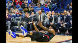 Los Angeles Clippers coach Doc Rivers reacts after a play during the first half of the team's NBA basketball game against the New Orleans Pelicans in New Orleans, Thursday, Nov. 14, 2019. (AP Photo/Sophia Germer)