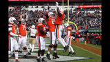 Virginia celebrates a touchdown against Georgia Tech during an NCAA college football game, Saturday, Nov. 9, 2019, in Charlottesville, Va. (Erin Edgerton/The Daily Progress via AP)
