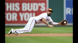 FILE - In this Sept. 1, 2019, file photo, Washington Nationals third baseman Anthony Rendon makes a catch on a line drive by Miami Marlins' Miguel Rojas during the seventh inning of a baseball game in Washington. Rendon is another NL contender for MVP. He emerged as the Nationals fought their way to the postseason after a poor start. The voting is done before the playoffs, so Rendon's postseason won't be a factor, but he'd already done plenty before that. (AP Photo/Nick Wass, File)