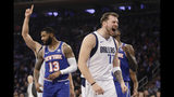 Dallas Mavericks' Luka Doncic (77) reacts after scoring and drawing a foul during the first half of the team's NBA basketball game against the New York Knicks on Thursday, Nov. 14, 2019, in New York. (AP Photo/Frank Franklin II)