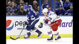 Tampa Bay Lightning left wing Pat Maroon (14) tries to get around New York Rangers defenseman Brady Skjei (76) during the second period of an NHL hockey game Thursday, Nov. 14, 2019, in Tampa, Fla. (AP Photo/Chris O'Meara)