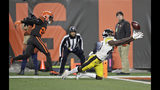 Pittsburgh Steelers wide receiver Johnny Holton (80) makes a diving attempt at the goal line but can't hang on to the ball during the second half of an NFL football game against the Cleveland Browns, Thursday, Nov. 14, 2019, in Cleveland. (AP Photo/Ron Schwane)