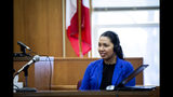 Alejandra Cervantes Valle, an aunt of Cristhian Bahena Rivera, testifies during day two of an evidence suppression hearing at the Poweshiek County Courthouse on Thursday, Nov. 14, 2019, in Montezuma, Iowa. A judge ruled Thursday that he will not consider written testimony from Rivera, who claims he was unaware of his legal rights when he allegedly confessed to killing University of Iowa student Mollie Tibbetts. (Brian Powers/The Des Moines Register via AP)