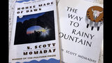 """In this Wednesday, Nov. 13, 2019, photo, a copy of """"House Made of Dawn"""" and """"The Way to Rainy Mountain"""" by Kiowa author N. Scott Momaday sits in his Santa Fe, N.M., home between writing sessions. In a rare interview with The Associated Press, Momaday, who won a Pulitzer Prize in 1969 for """"House Made of Dawn,"""" says he's excited about a new PBS American Masters documentary about his life. But he remains surprised and humbled that other writers have said his work has influenced them. (AP Photo/Russell Contreras)"""