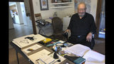 """In this Wednesday, Nov. 13, 2019, photo, Kiowa writer N. Scott Momaday, who won a Pulitzer Prize in 1969 for his groundbreaking novel """"House Made of Dawn,"""" sits in his Santa Fe, N.M., home between writing sessions. In a rare interview with The Associated Press, the 85-year-old Native American author says he's excited about a new PBS American Masters documentary about his life. But he remains surprised and humbled that other writers have said his work has influenced them. (AP Photo/Russell Contreras)"""