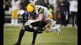 Appalachian State linebacker Jordan Fehr (59) tackles South Carolina receiver Xavier Legette during an NCAA college football game in Columbia, S.C., Saturday, Nov. 9, 2019. (Dwayne McLemore/The State via AP)